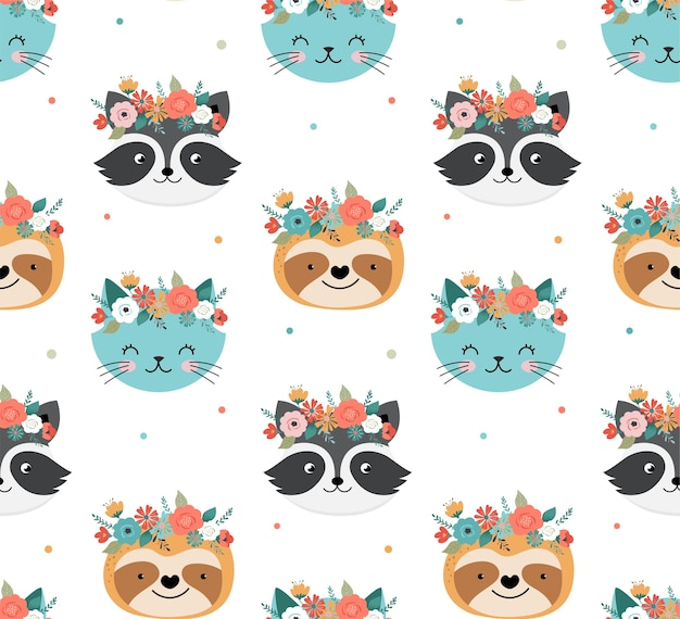 Cute racoon, cat and sloth heads with flower crown seamless pattern