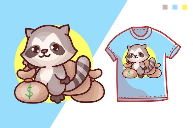 Милый енот футболка шаблон дизайна
