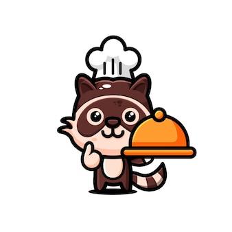 かわいいアライグマのキャラクターデザインをテーマにした幸せ