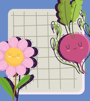 귀여운 무와 꽃