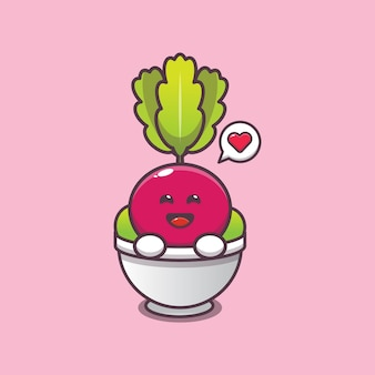 Cute radish in bowl cartoon illustration vegetable cartoon vector illustration