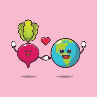 Cute radish and earth cartoon illustration world vegetarian day cartoon vector illustration