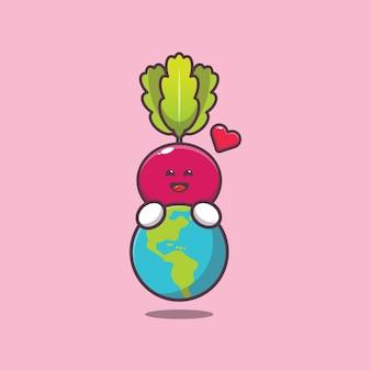 Cute radish huging earth cartoon illustration world vegetarian day illustration