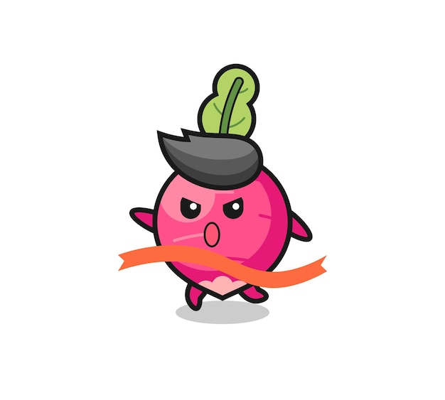 Cute radish illustration is reaching the finish , cute style design for t shirt, sticker, logo element