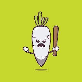 Милый редис сердится карикатура иллюстрации овощной мультфильм векторные иллюстрации