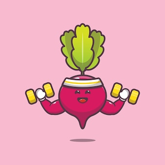 Cute radish lifting dumbbell cartoon illustration vegetable cartoon vector illustration