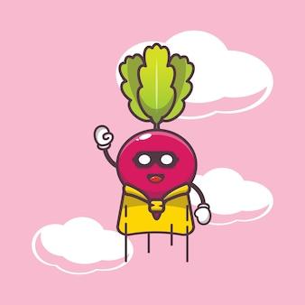 Cute radish super hero flying cartoon illustration vegetable cartoon vector illustration