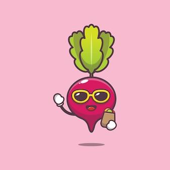 Cute radish with shopping bag cartoon illustration vegetable cartoon vector illustration