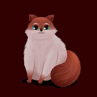 かわいいラグドール猫の漫画イラスト