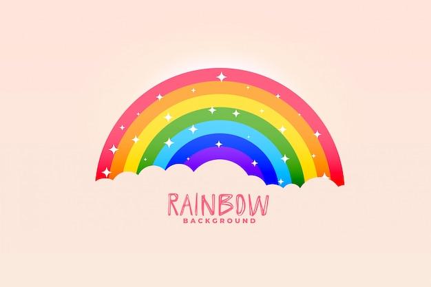 かわいい虹と雲ピンクの背景のスタイリッシュなデザイン