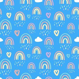 Милая радуга и сердца бесшовные модели. векторная иллюстрация