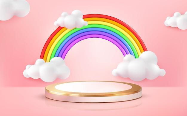 ピンクのパステルカラーの背景にディスプレイ製品のかわいい虹と表彰台の漫画スタイル