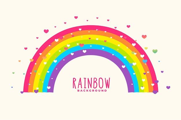 Simpatico sfondo arcobaleno con sfondo di cuori