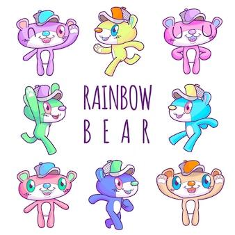 Cute rainbow bear wearing cap