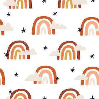 귀여운 무지개 보헤미안 패턴입니다. 벽지 또는 섬유 디자인을 위한 손으로 그린 벡터 그림.