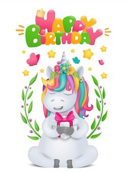 Cute rainbow cartoon unicorn character with gift box in hands. birthday card template.