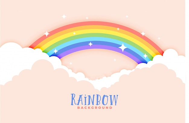Cute rainbow and clouds pink background