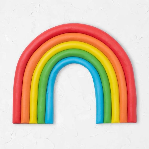 Grafica colorata artigianale di argilla secca vettoriale arcobaleno carino per bambini