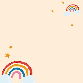 Cute rainbow frame vector in beige background cute hand drawn style