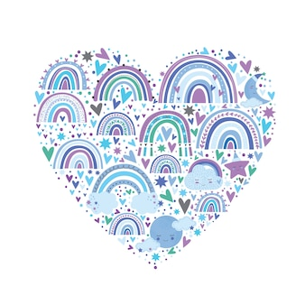Cute rainbow pattern in blue color. rainbows hearts