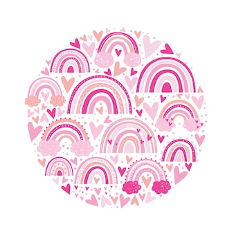 Cute rainbow pattern pink color. kids illustration.