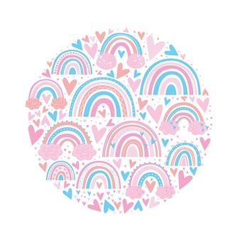 かわいいレインボーパターンピンク色