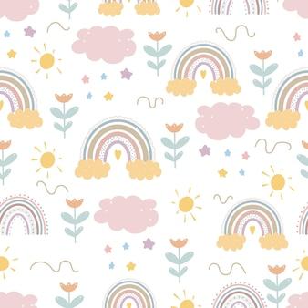 귀여운 무지개 패턴 창조적 인 유치한 인쇄 디지털 종이