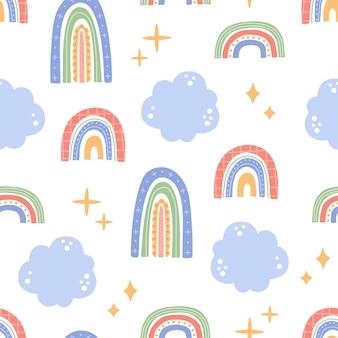 雲とかわいい虹のシームレスなパターン、かわいい抽象的なパステルカラーの形、トレンディなモダンな落書きフラットスタイルの幼稚な手描きの要素。ファブリック、テキスタイル、壁紙のベクトル図