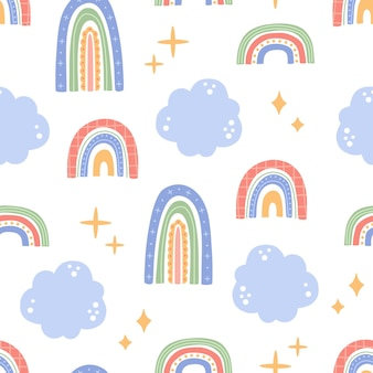 Cute rainbow seamless pattern with clouds, kawaii abstract pastel colors shape, childish hand drawn elements in trendy modern doodle flat style. vector illustration for fabric, textile and wallpaper