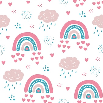 Cute rainbow seamless pattern with hearts and clouds