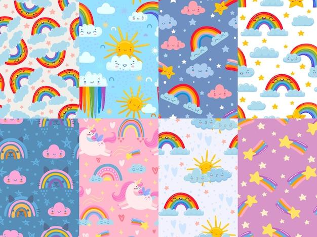 Cute rainbow seamless patterns set