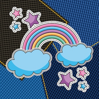 Cute rainbow and stars patches