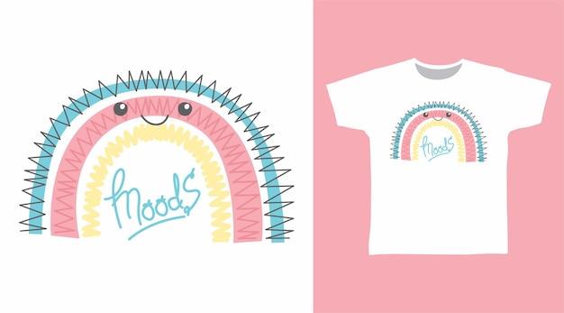 Симпатичный дизайн футболки с радугой