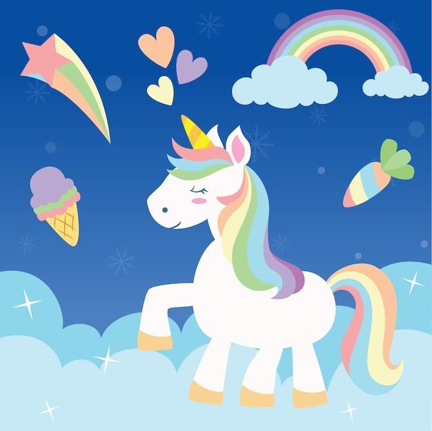 Cute rainbow unicorn Premium Vector