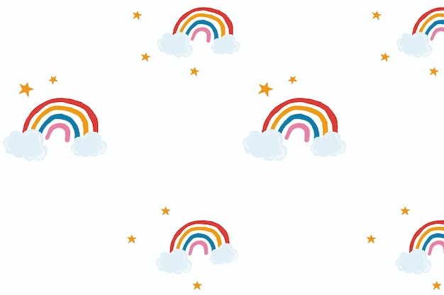 Vettore carino arcobaleno in stile disegnato a mano carino sfondo bianco