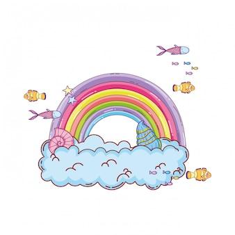 Cute rainbow with clouds undersea scene