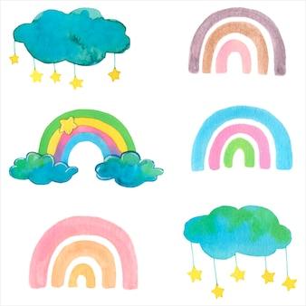 Милые радуги и облака. акварельная иллюстрация. изолированные элементы вектора.