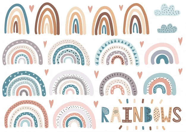 Cute rainbows, clouds, hearts collection. isolated elements set