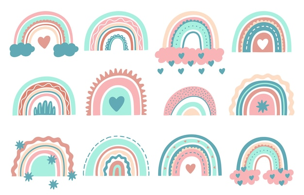 Cute rainbows. doodle nursery rainbow with clouds, childish scandinavian elements for wrapping or fabric.