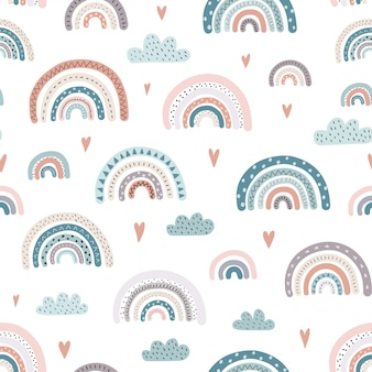 Cute rainbows and hearts seamless pattern.
