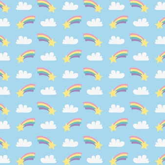 Cute rainbows with clouds and stars pattern