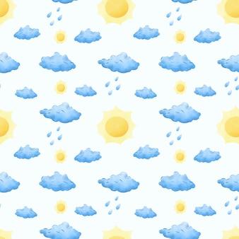 Cute rainy cloud and sun watercolor seamless pattern