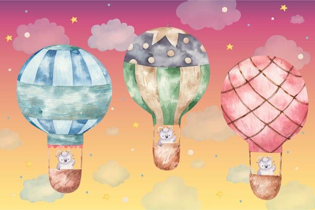 컬러 풍선을 타고 날아가는 귀여운 숫양, 흰색 바탕에 귀여운 아기 수채화 그림