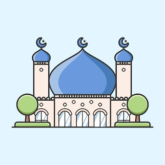 Cute ramadan mosque with two towers