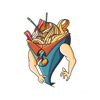 Cute ramen boss illustration character design vector