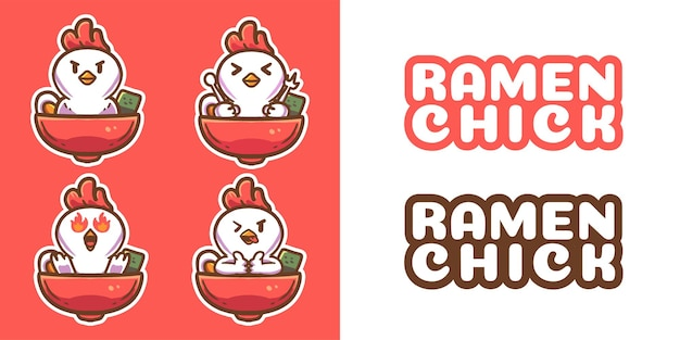 Cute ramen chick mascot logo template