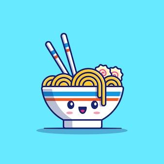 Симпатичные рамэн лапши мультфильм значок иллюстрации. еда лапша иконка концепция изолированные. плоский мультяшный стиль
