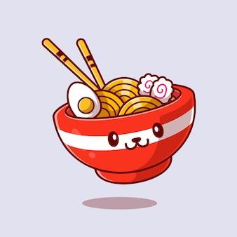 Cute ramen noodle cartoon icon illustration.