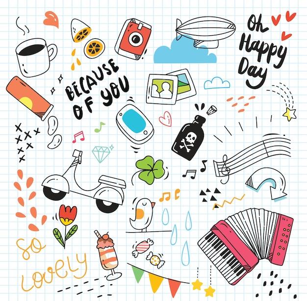 Cute random doodle on paper background