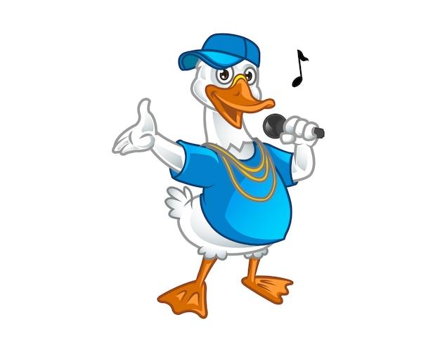 Cute rap singer goose cartoon mascot